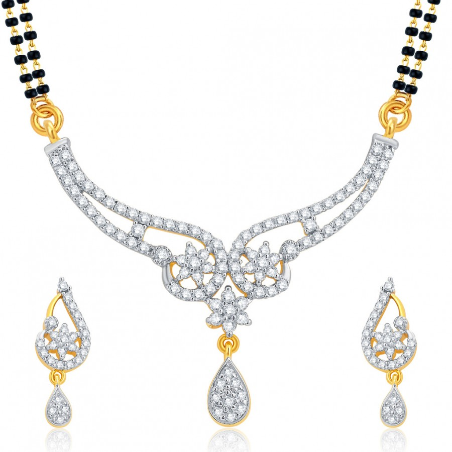 Buy Pissara Glorious Gold and Rhodium Plated CZ Mangalsutra Set For Women Online