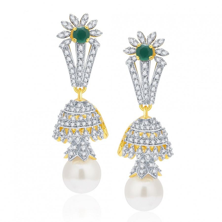 4f73050780 Buy Pissara Distinctive Gold And Rhodium Plated Emerald CZ Earrings For Women  Online
