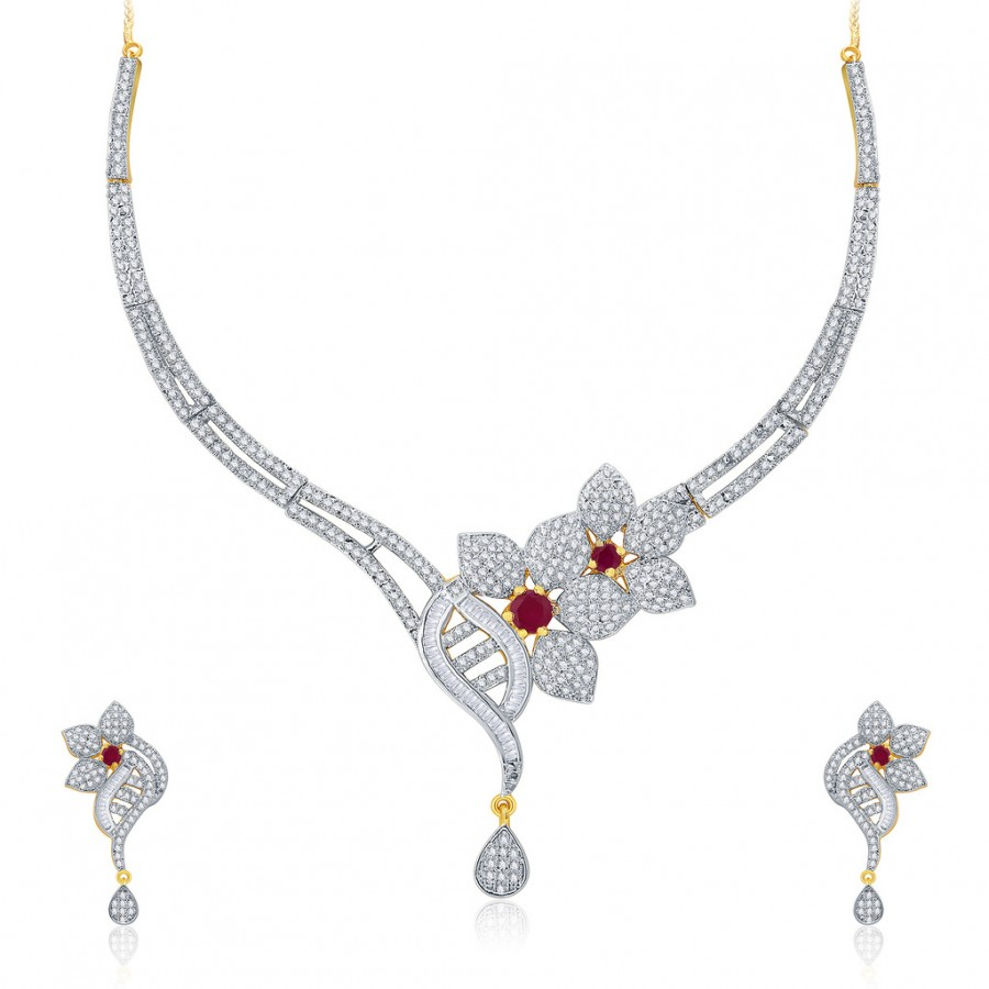 Buy Pissara Fascinating Gold And Rhodium Plated Ruby CZ Neklace Set For Women Online