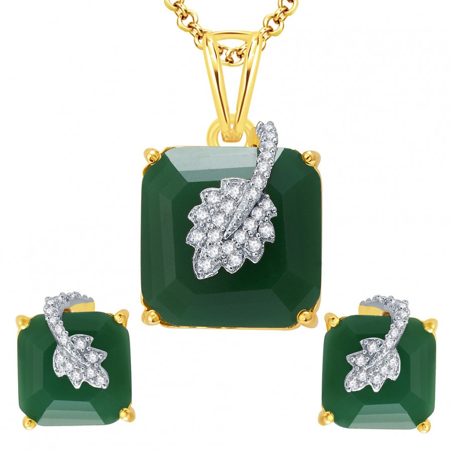 Buy Pissara Enchanting Gold And Rhodium Plated Emerald CZ Pendant Set For Women Online