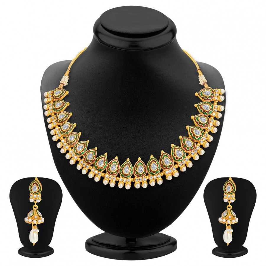 Buy Sukkhi Splendid Gold Plated Kundan Necklace Set For Women Online