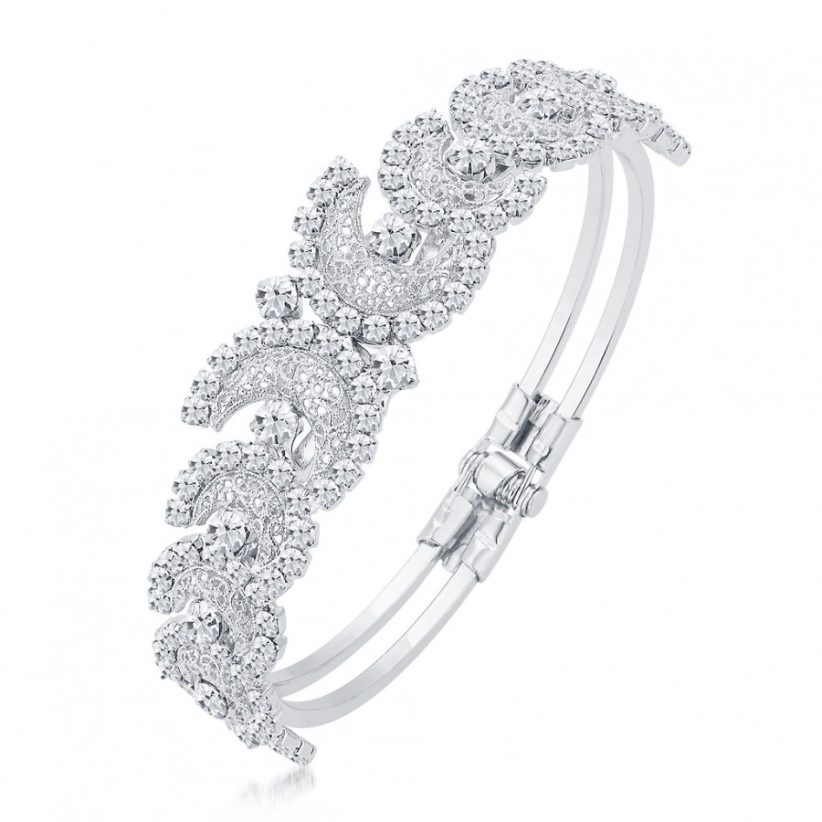 Buy Sukkhi Incredible Rhodium Plated AD Kada For Women Online