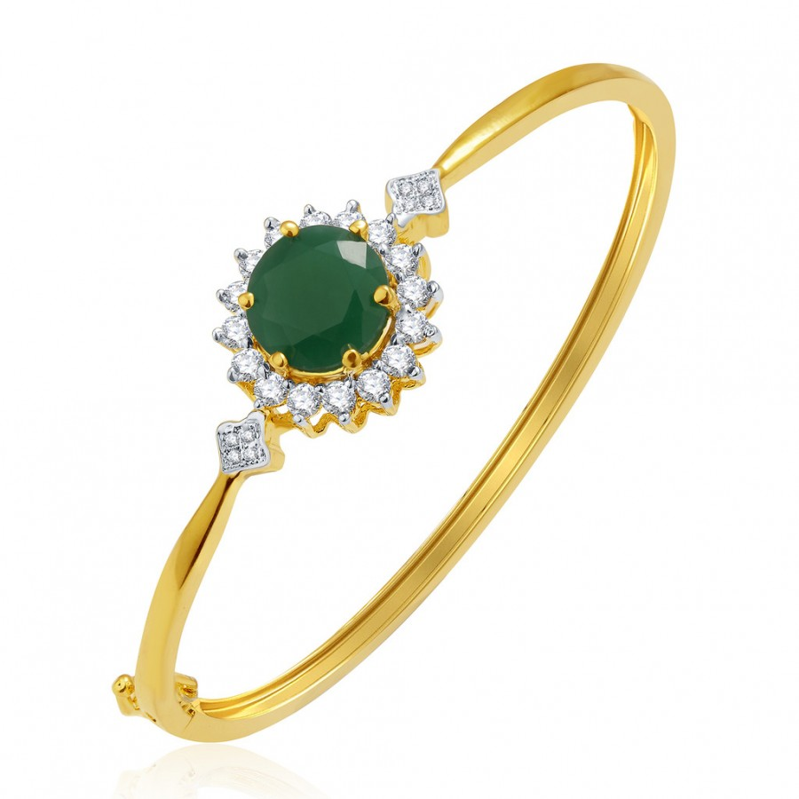 Buy Pissara Enticing Gold And Rhodium Plated Emerald CZ Kada For Women Online