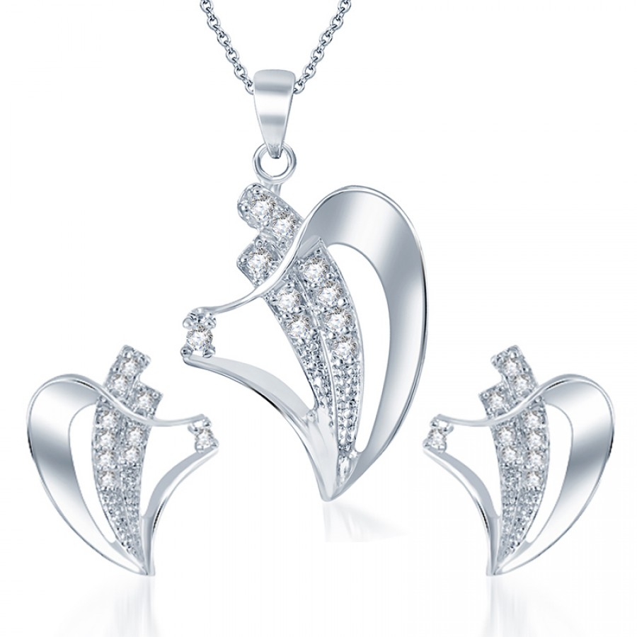 Buy Pissara Fascinating Rodium plated CZ Pendant Set Online