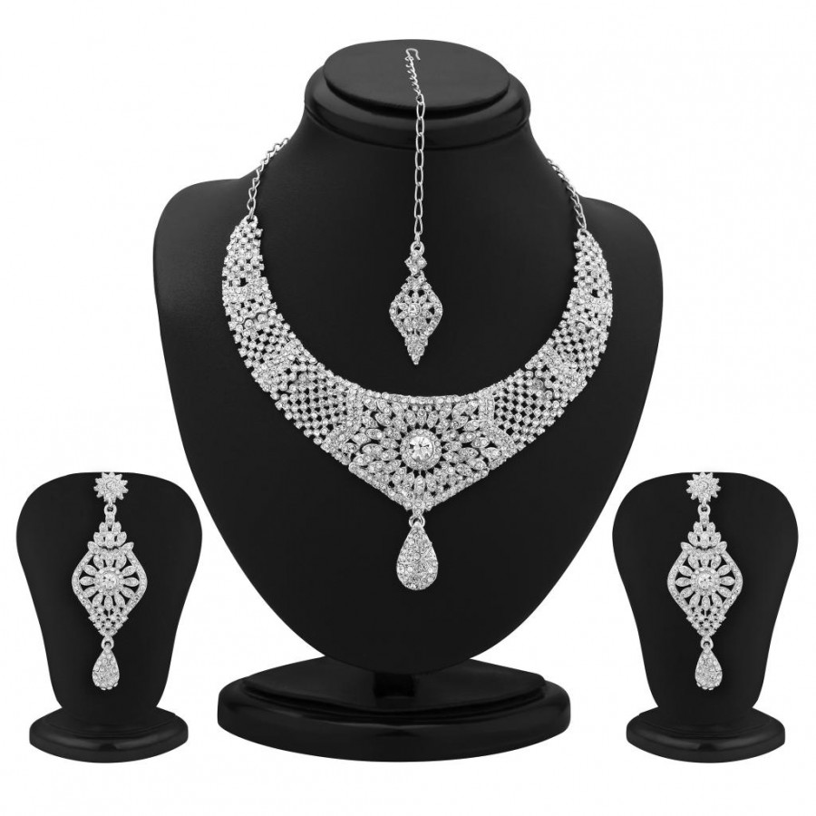 Buy Sukkhi Marvelous Rhodium Plated Australian Diamond Necklace Set Online