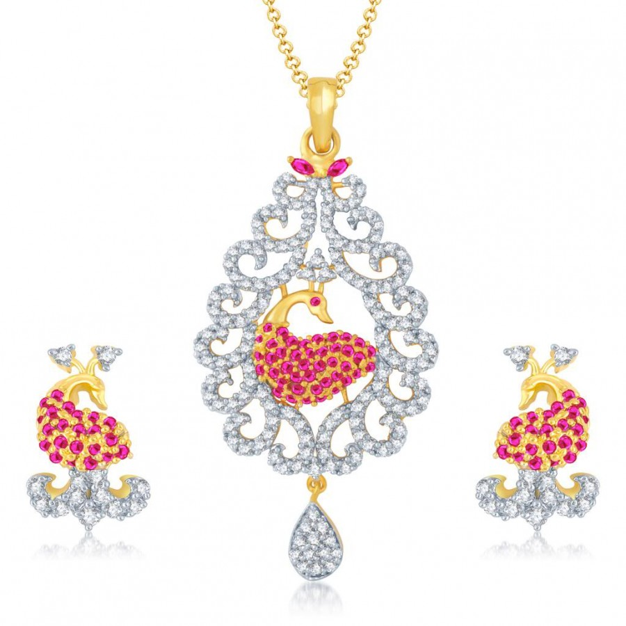 Buy Pissara Excellent Gold and Rhodium Plated Cubic Zirconia and Ruby Stone Studded Pendant Set Online