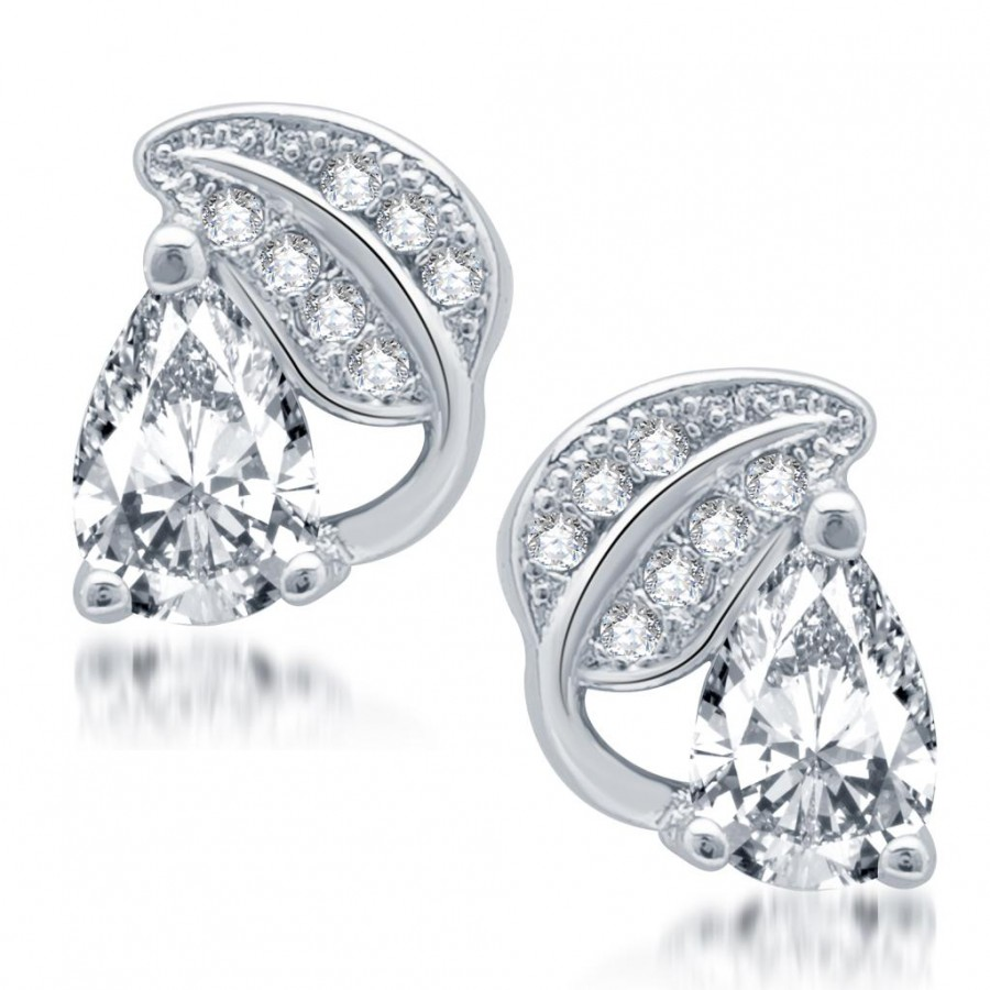 Buy Pissara Fine Rhodium Plated Micro Pave CZ Earrings Online