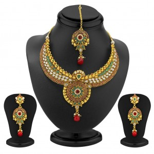 Buy Sukkhi Preety Gold Plated AD, Ruby and Emerald Antique Necklace Set Online