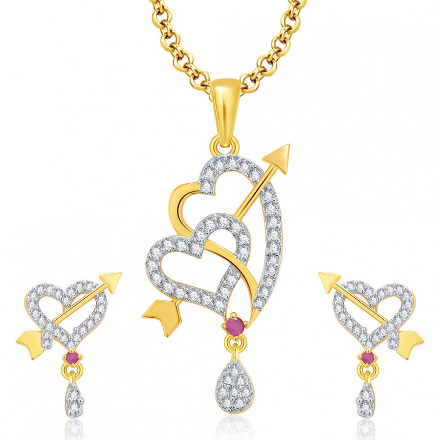 Buy Pissara Everlasting Gold And Rhodium Plated Ruby CZ Pendant Set For Women Online
