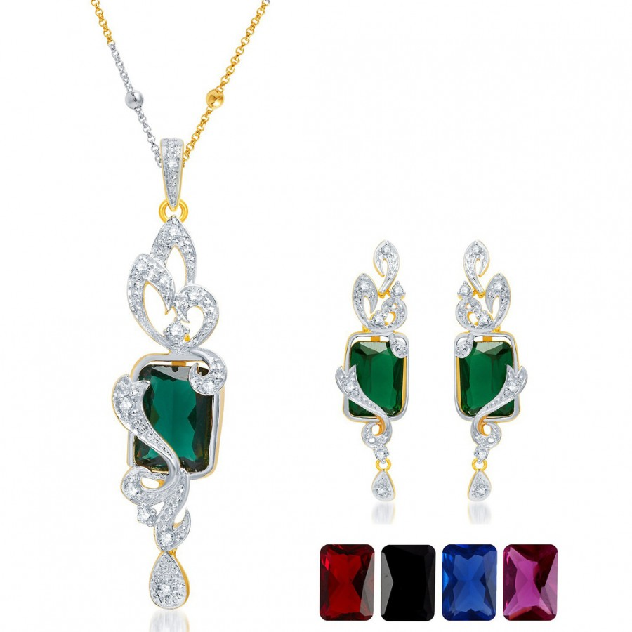 Buy Pissara Elegant Gold and Rhodium Plated CZ Pendant Set with Set of 5 Changeable Stone Online