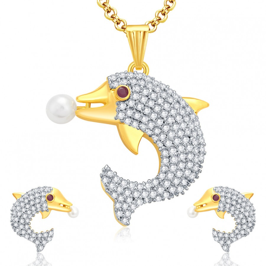 Buy Pissara Dolphin Gold And Rhodium Plated Ruby CZ Pendant Set For Women Online