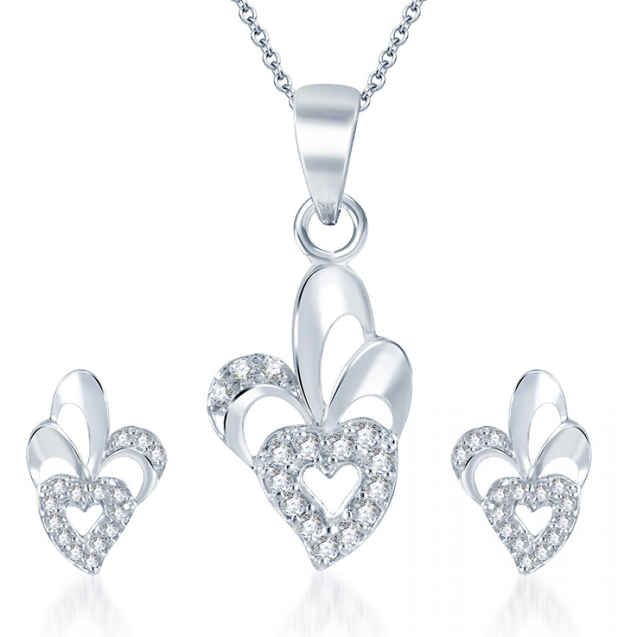 Buy Pissara Trendy Rodium plated CZ Pendant Set Online