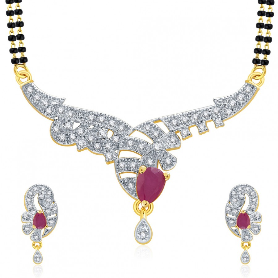 Buy Pissara Glitzy Gold And Rhodium Plated Ruby CZ Mangalasutra Set For Women Online