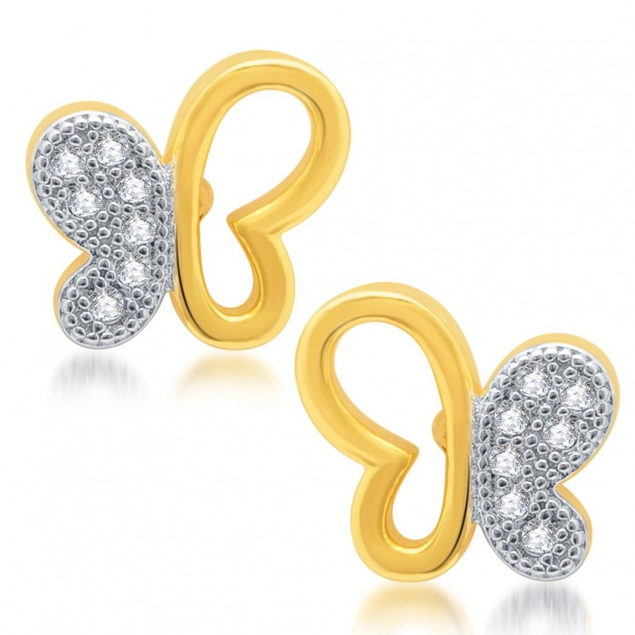 Buy Pissara Pretty Gold and Rhodium Plated Micro Pave CZ Earrings Online