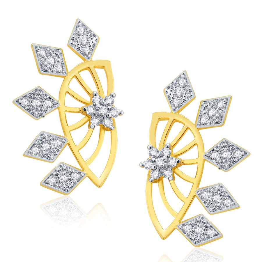 Buy Pissara Opulent Gold And Rhodium Plated CZ Earcuff For Women Online