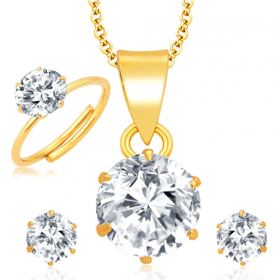 Buy Pissara Elegant Gold and Rhodium Plated CZ Pendant Set - Ring Combo For Women Online