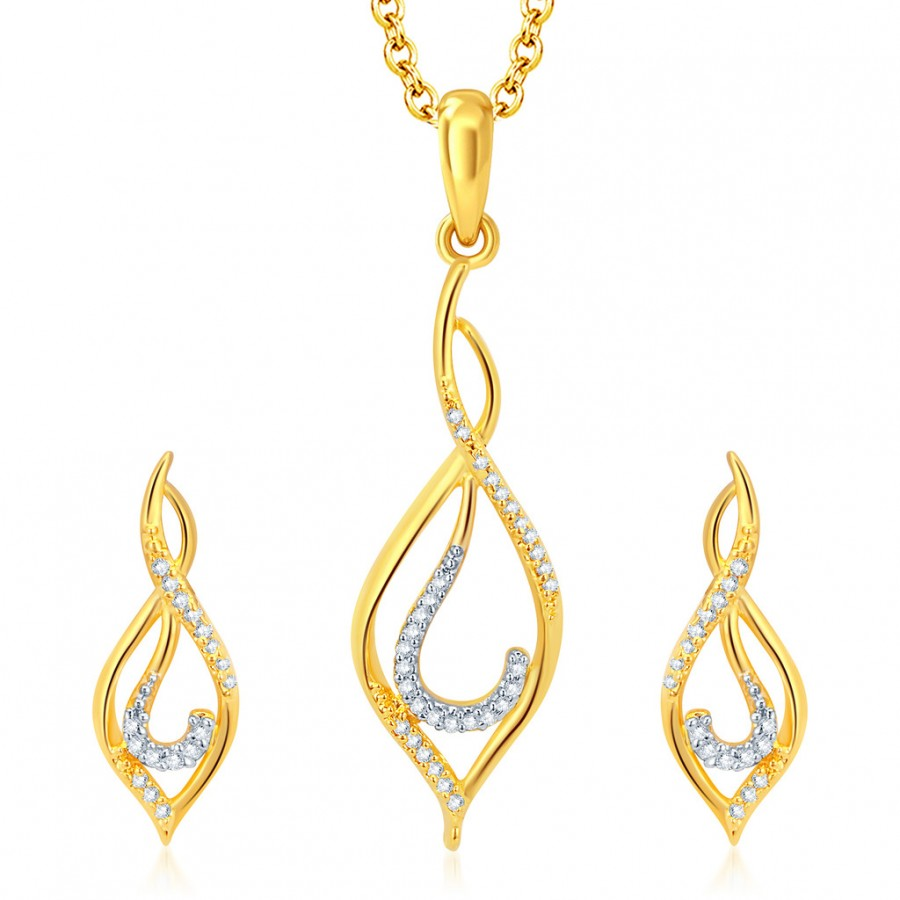 Buy Pissara Creative Gold and Rhodium Plated CZ Pendant Set Online