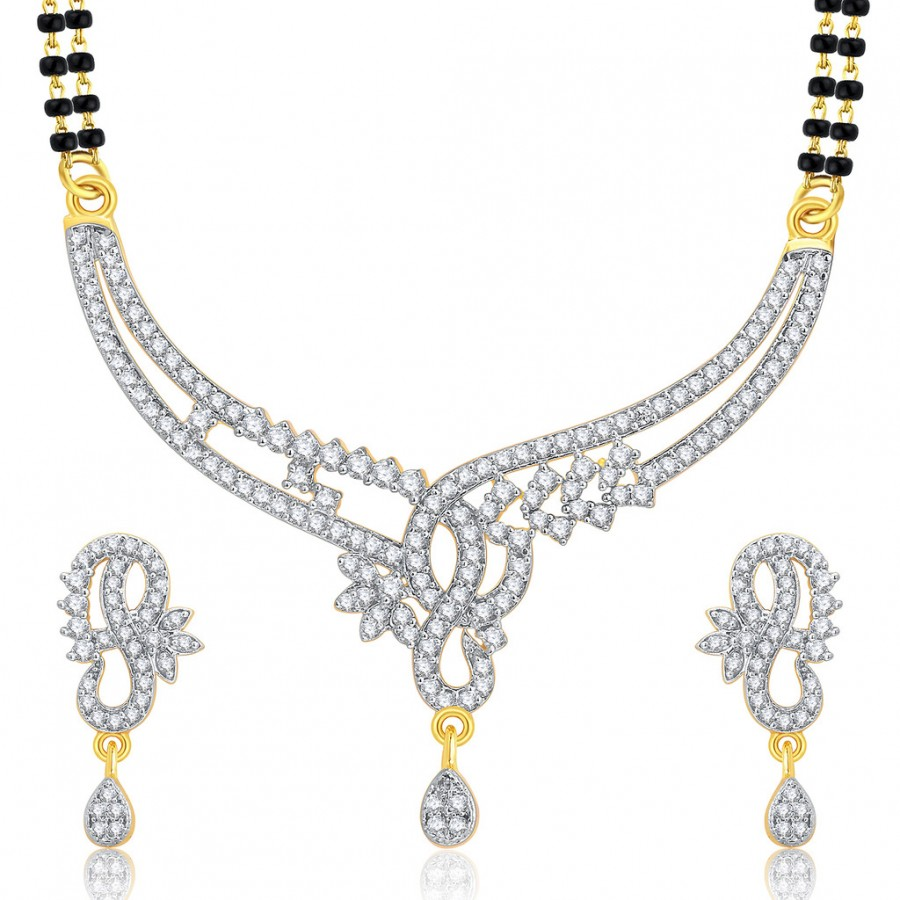 Buy Pissara Distinctive Gold And Rhodium Plated CZ Mangalasutra Set For Women Online