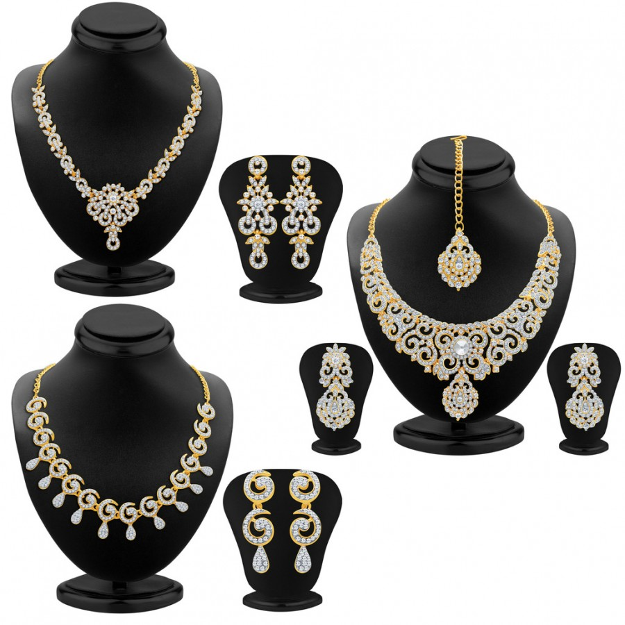 Buy Sukkhi Glamorous Gold Plated AD Neckalce Sets Combo For Women Online