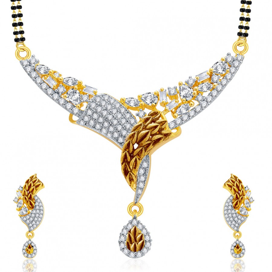 Buy Pissara Rousing Gold And Rhodium Plated CZ Mangalasutra Set For Women Online