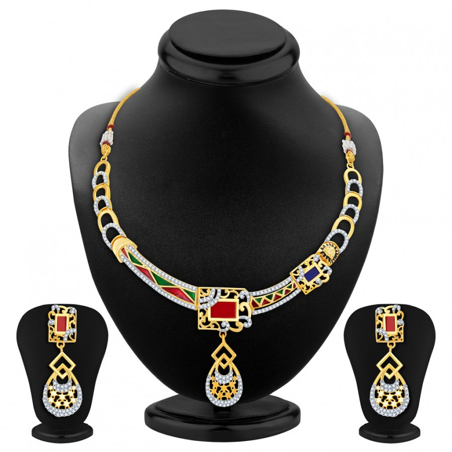 Buy Sukkhi Modish Gold Plated Geometrical Shaped Necklace Set Online