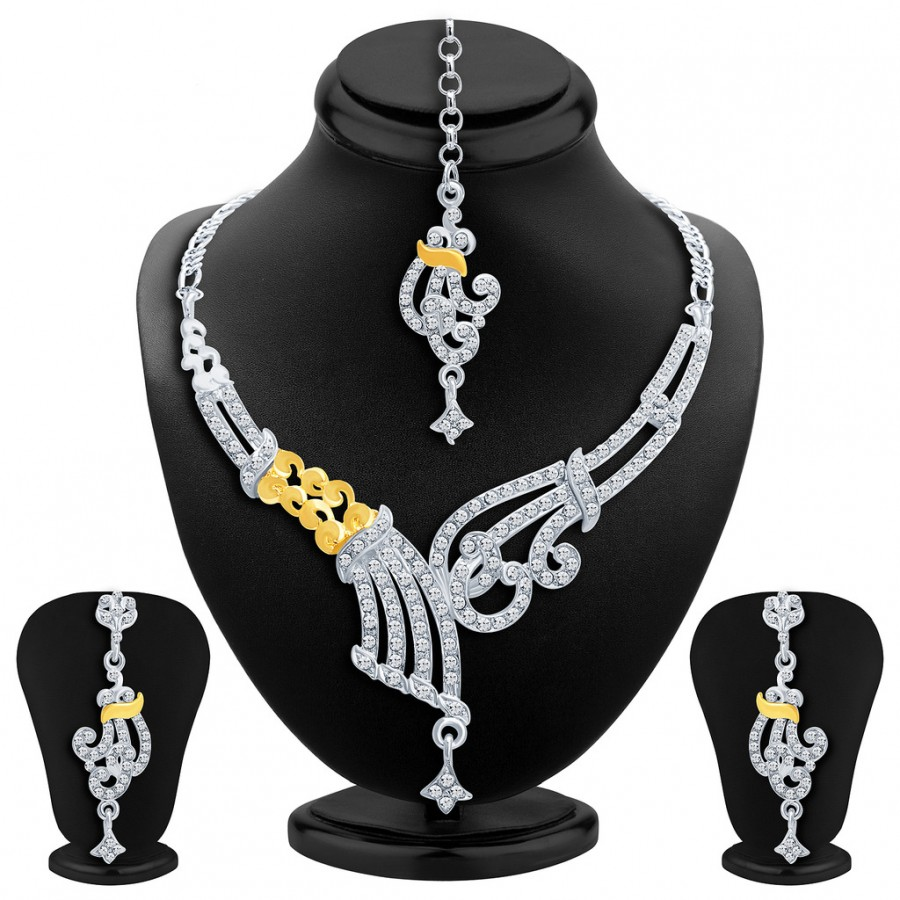 Buy Sukkhi Fine Gold and Rhodium Plated AD Necklace Set Online