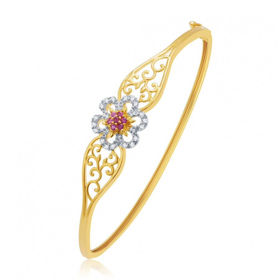 Buy Pissara Gorgeous Gold And Rhodium Plated CZ Kada For Women Online