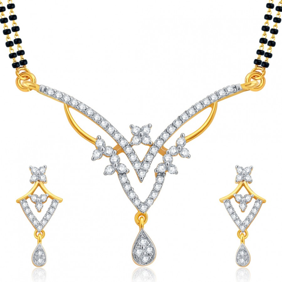 Buy Pissara Angelic Gold and Rhodium Plated CZ Mangalsutra Set For Women Online