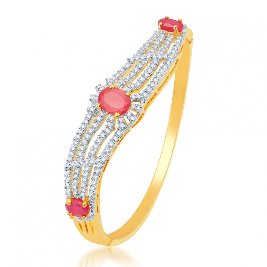 Buy Pissara Graceful Gold and Rhodium Plated CZ Kada Online