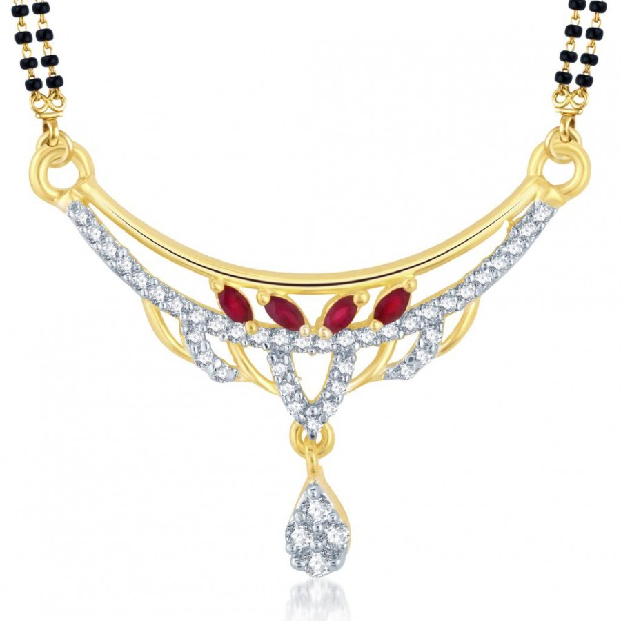 Buy Pissara Royal Gold and Rhodium Plated Cubic Zirconia and Ruby Stone Studded Mangalsutra Pendant Online
