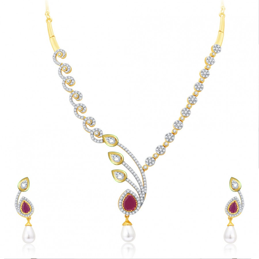 Buy Pissara Subtle Gold And Rhodium Plated Ruby CZ Kundan Neklace Set For Women Online