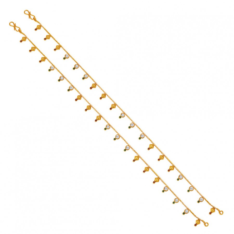 Buy Sukkhi Artistically Gold Plated AD Anklet For Women Online