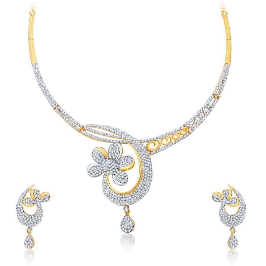 Buy Pissara Enchanting Gold And Rhodium Plated CZ Neklace Set For Women Online