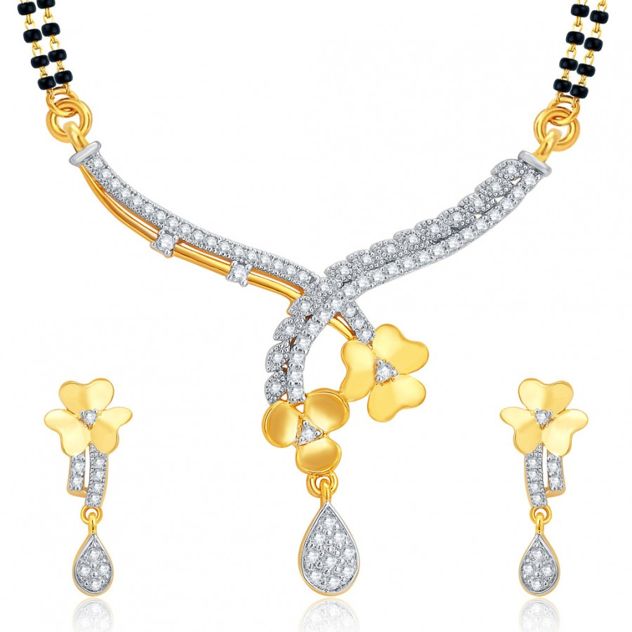 Buy Pissara Wavy Gold and Rhodium Plated CZ Mangalsutra Set For Women Online