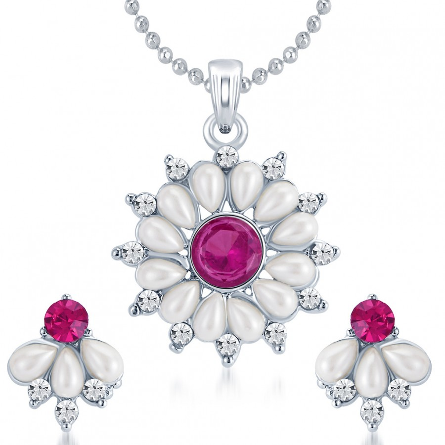 Buy Sukkhi Delightful Rhodium Plated AD Pendant Set Online