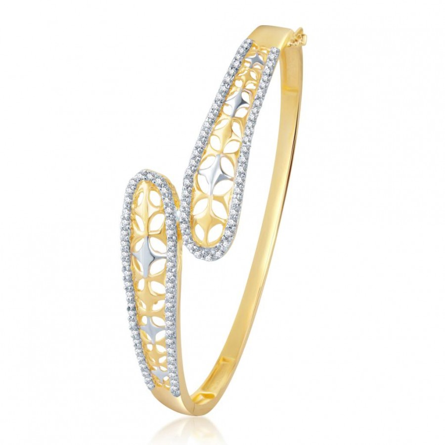 Buy Pissara Pretty Gold and Rhodium Plated Cubic Zirconia Stone Studded Kada Online