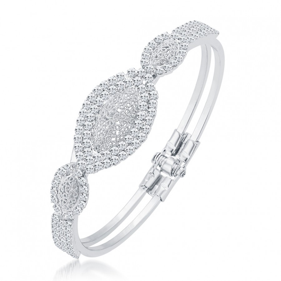 Buy Sukkhi Glimmery Rhodium Plated AD Kada For Women Online
