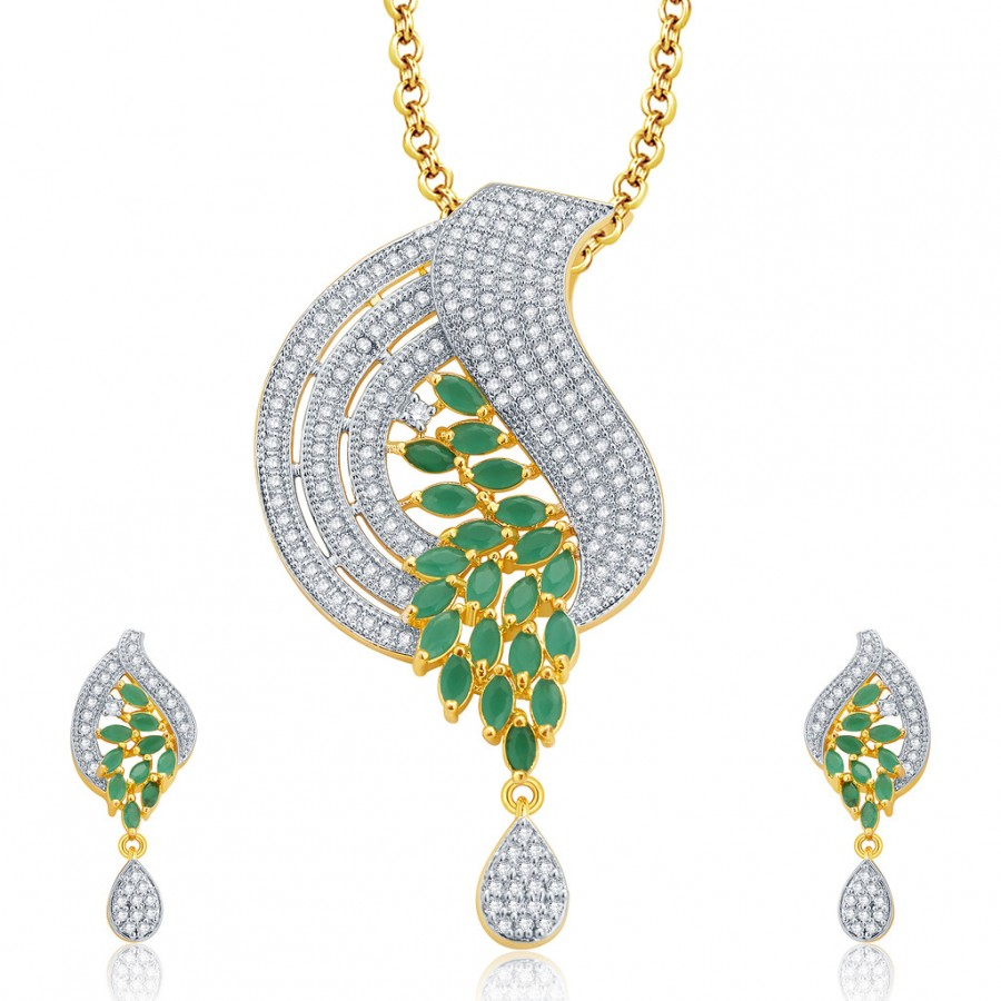 Buy Pissara Extravagant Gold And Rhodium Plated Emerald CZ Pendant Set For Women Online