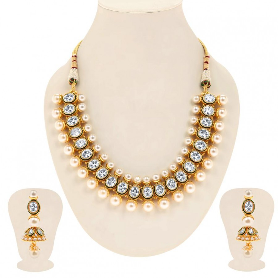 Buy Sukkhi Bewitching Gold Plated Oval AD Solitaire Necklace Set for Women Online