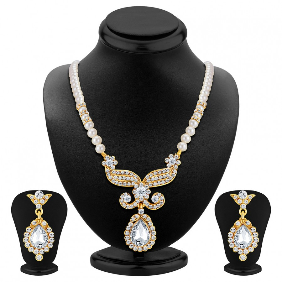 Buy Sukkhi Artistically Gold Plated AD Necklace Set Online