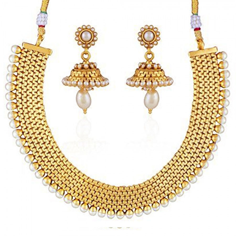 Buy Pissara Modish Gold Plated Necklace Set For Women Online