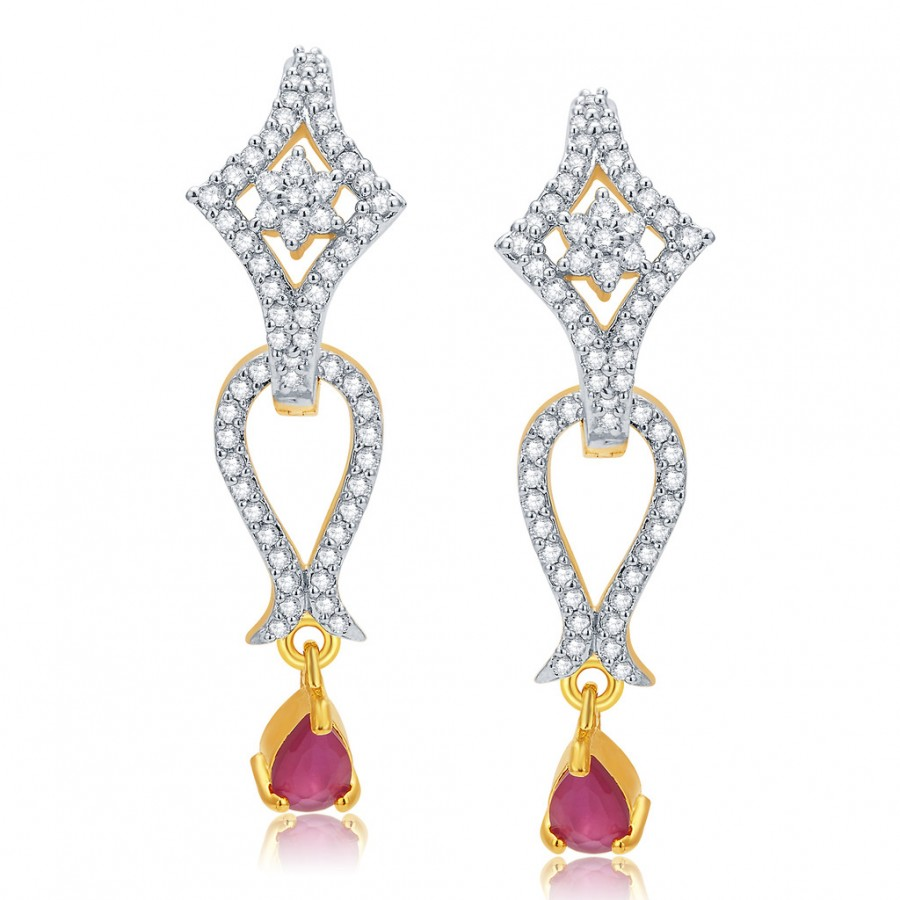 Buy Pissara Alluring Gold And Rhodium Plated Ruby CZ Earrings For Women Online