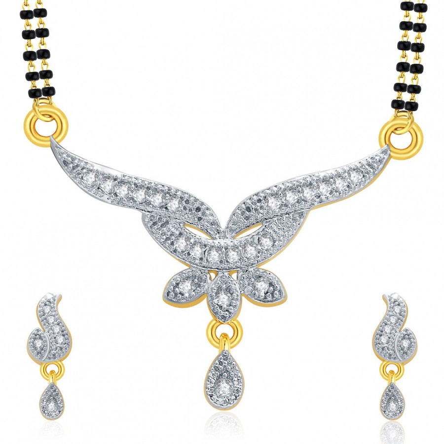 Buy Pissara Sumptuous Gold And Rhodium Plated CZ Mangalasutra Set For Women Online