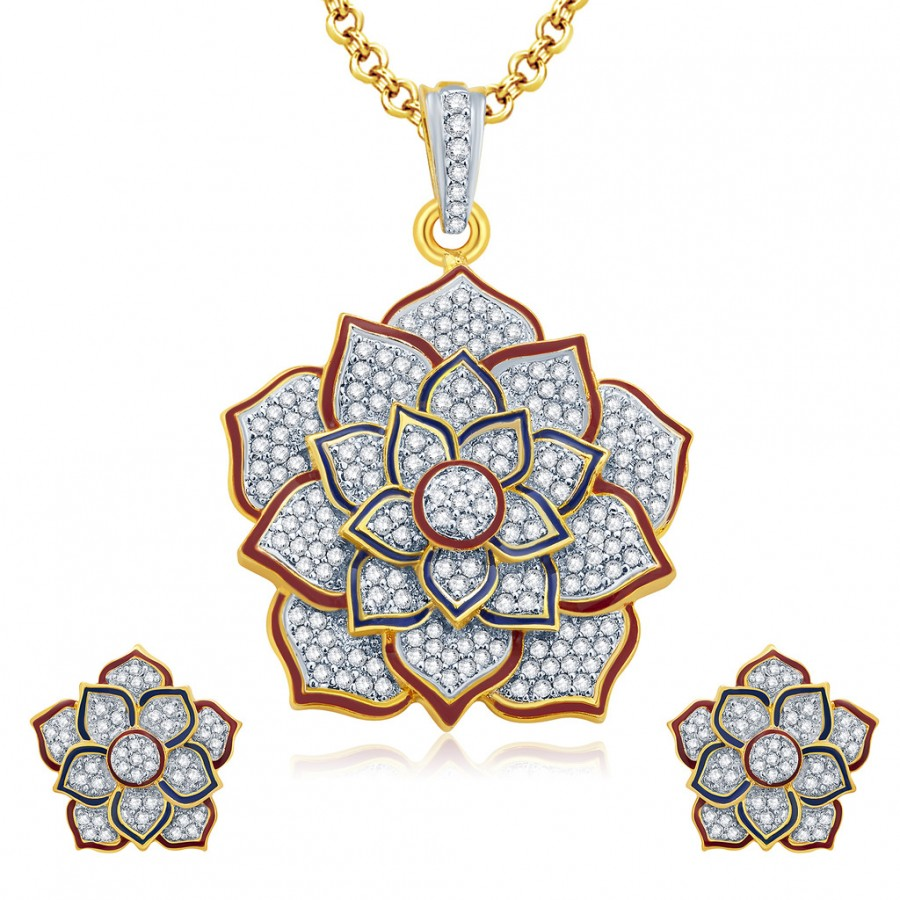 Buy Pissara Lotus Gold And Rhodium Plated CZ Pendant Set For Women Online