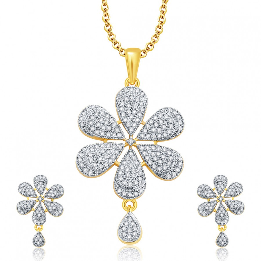 Buy Pissara Magnificient Gold And Rhodium Plated CZ Pendant Set For Women Online