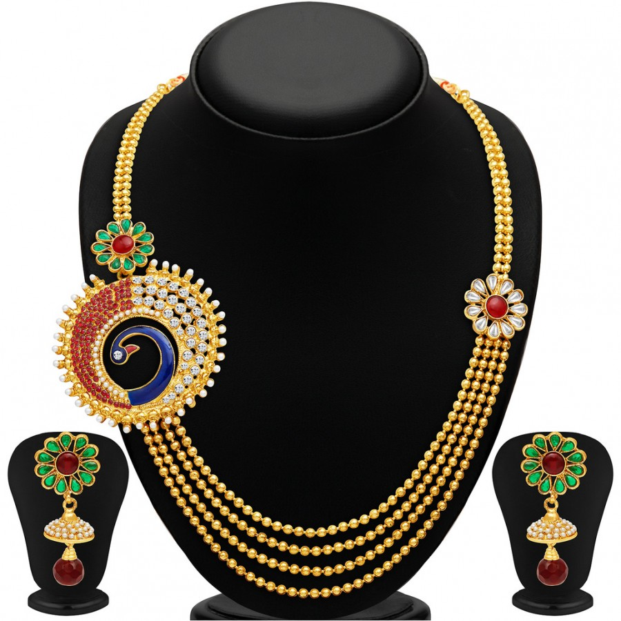 Buy Sukkhi Eye-Catchy Peacock Four Strings Gold Plated Necklace Set Online
