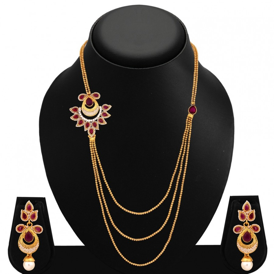 Buy Sukkhi Splendid Three Strings Gold Plated AD Necklace Set For Women Online