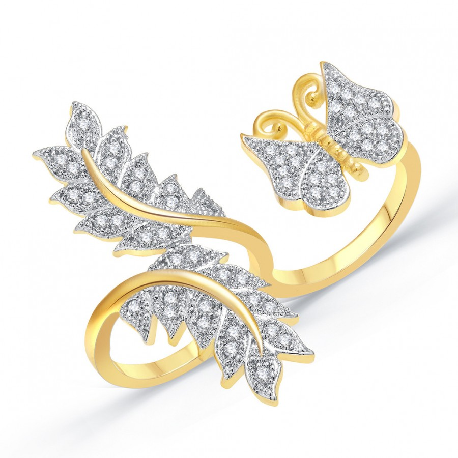 Buy Pissara Pretty Gold And Rhodium Plated CZ Ring For Women Online
