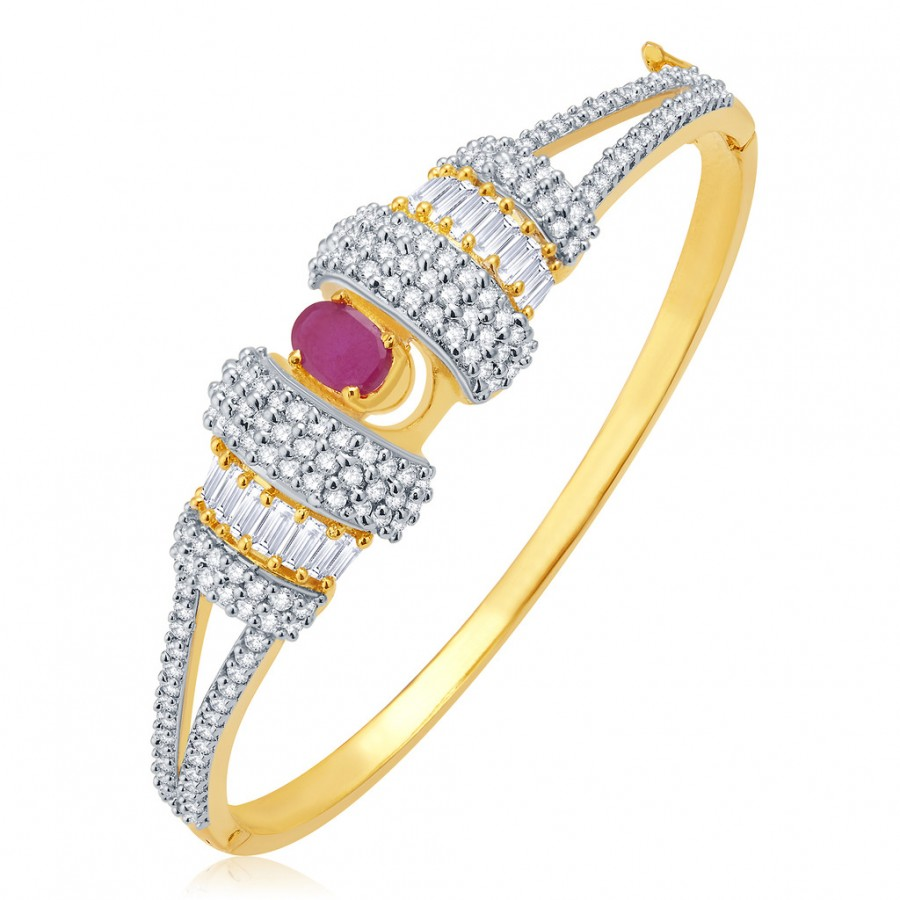 Buy Pissara Grandiose Gold And Rhodium Plated Ruby CZ Kada For Women Online