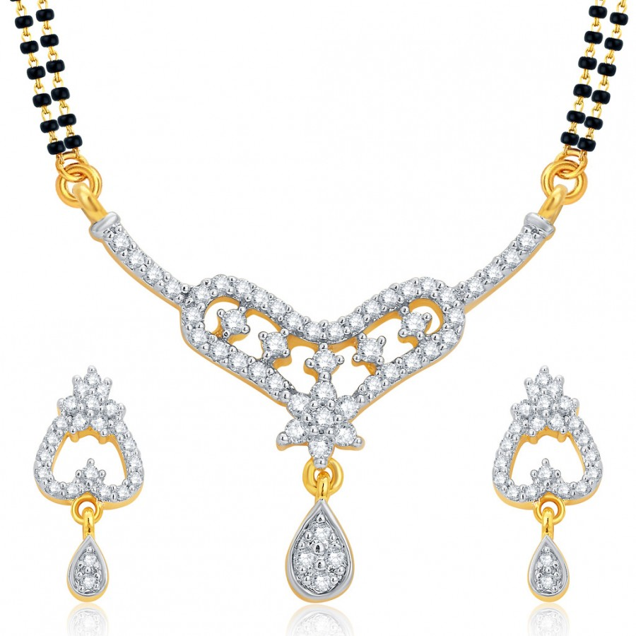 Buy Pissara Fancy Gold and Rhodium Plated CZ Mangalsutra Set For Women Online